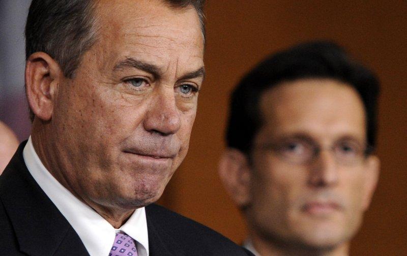 Speaker of the House John Boehner, R-OH on Capitol Hill in Washington, DC, on December 22, 2011. At right is House Majority Leader Eric Cantor, R-VA. UPI/Roger L. Wollenberg