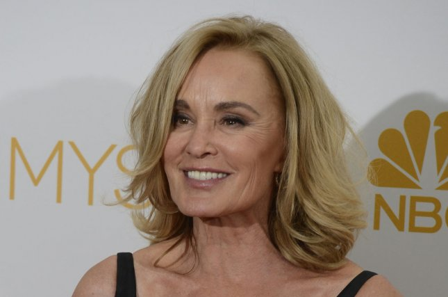 Jessica Lange holds her Emmy for lead actress won for American Horror Story:Coven at the Primetime Emmy Awards at the Nokia Theatre in Los Angeles on August 25, 2014. UPI/Phil McCarten