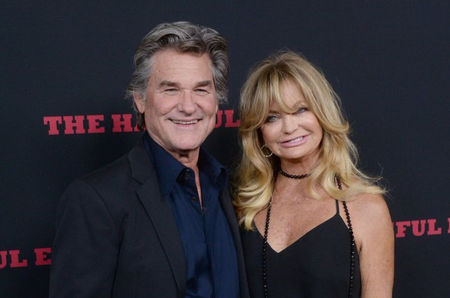 Goldie Hawn (R) and Kurt Russell at the Los Angeles premiere of The Hateful Eight on December 7, 2015. File Photo by Jim Ruymen/UPI