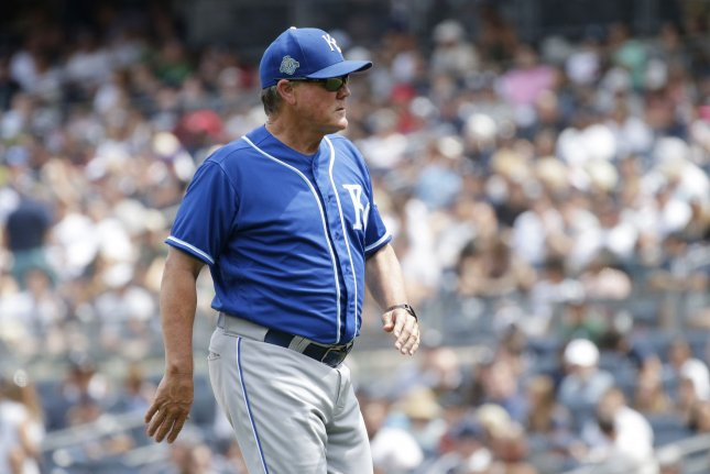 Kansas City Royals manager Ned Yost walks back to the dugout after a pitching change in the fifth inning against the New York Yankees on July 29, 2018 at Yankee Stadium in New York City. Photo by John Angelillo/UPI