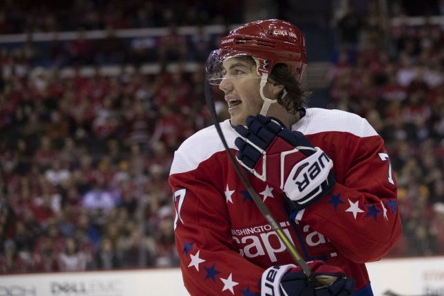 Washington Capitals forward T.J. Oshie (77) scored his 22nd goal of the season Wednesday night. It snapped his eight-game scoring drought. File Photo by Alex Edelman/UPI