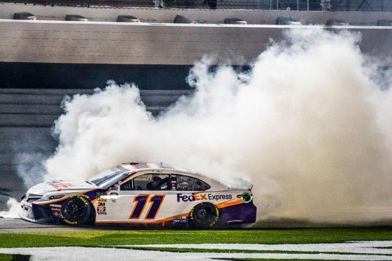 Denny Hamlin is among the favorites to win Sunday's Goodyear 400, the 12th race of NASCAR's Cup Series season. File Photo by Edwin Locke/UPI