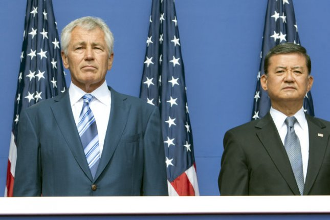 U.S. Secretary of Defense Chuck Hagel and U.S. Secretary for Veterans Affairs Eric Shinseki. UPI/Ron Sachs/Pool