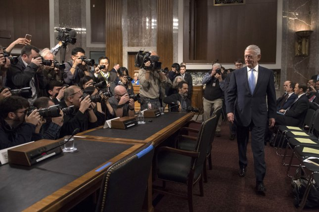 James Mattis, nominated to be secretary of defense, arrives for his confirmation hearing before the Senate Armed Services Committee on Thursday. Mattis, a life-long U.S. Marine, has been granted a congressional waiver to serve, having been retired for less than seven years. Photo by Kevin Dietsch/UPI