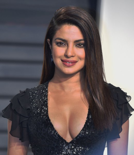 Priyanka Chopra attends the Vanity Fair Oscar Party at the Wallis Annenberg Center for the Performing Arts in Beverly Hills, Calif. on February 26. The actress celebrated the Hindu holiday Holi with Jimmy Fallon on TheTonight Show. Photo by Christine Chew/UPI
