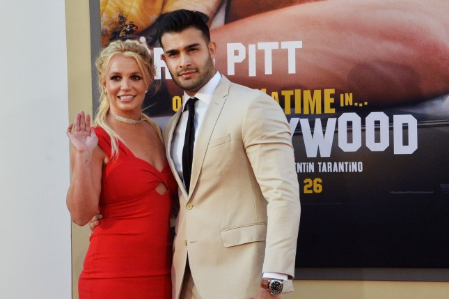 Britney Spears (L) and Sam Asghari attend the Los Angeles premiere of Once Upon a Time in Hollywood on Monday. Photo by Jim Ruymen/UPI