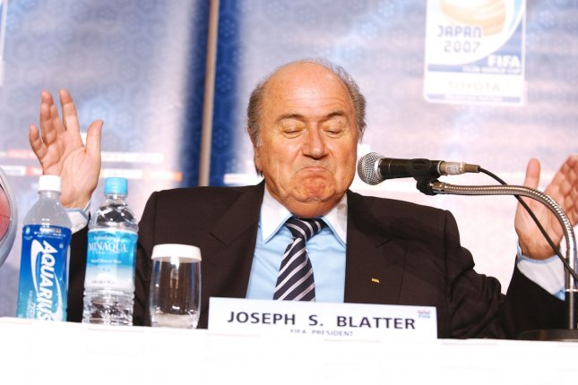 Then-FIFA president Joseph S. Blatter speaks to reporters in Tokyo, Japan, on December 14, 2007. The global soccer authority is now seeking more than $2 million over a payment made to Blatter's vice president in 2011. File Photo by Keizo Mori/UPI