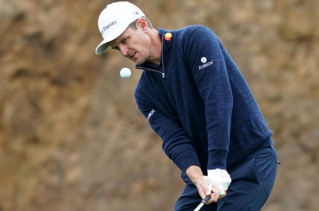 Justin Rose of England is tied for the lead after the first round of the Charles Schwab Challenge on Thursday in Fort Worth, Texas. File Photo by Kevin Dietsch/UPI