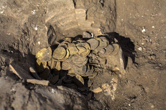 A hoard of 425 gold coins dating to the Abbasid dynasty was discovered at an archeological site in central Israel. Pool Photo by Heidi Levine/UPI