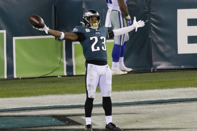 Philadelphia Eagles safety Rodney McLeod scored a touchdown on a fourth-quarter fumble return in a win over the Dallas Cowboys on Sunday in Philadelphia. File Photo by John Angelillo/UPI