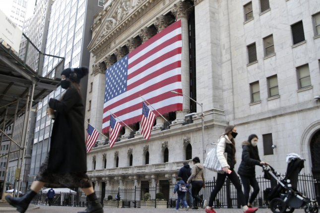 Markets at the New York Stock Exchange on Wall Street were higher as U.S. stocks jumped on more positive news on Covid-19 vaccines. Photo by John Angelillo/UPI
