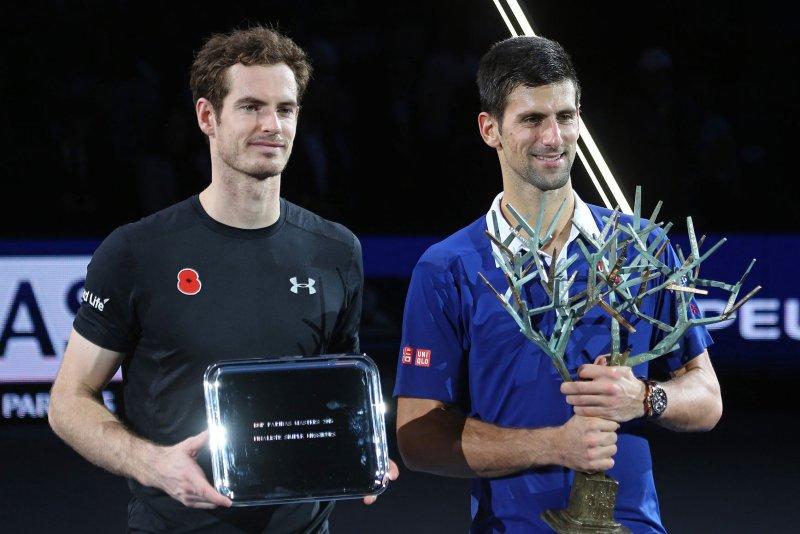 Andy Murray (L) of Great Britain and Novak Djokovic of Serbia. Photo by David Silpa/UPI