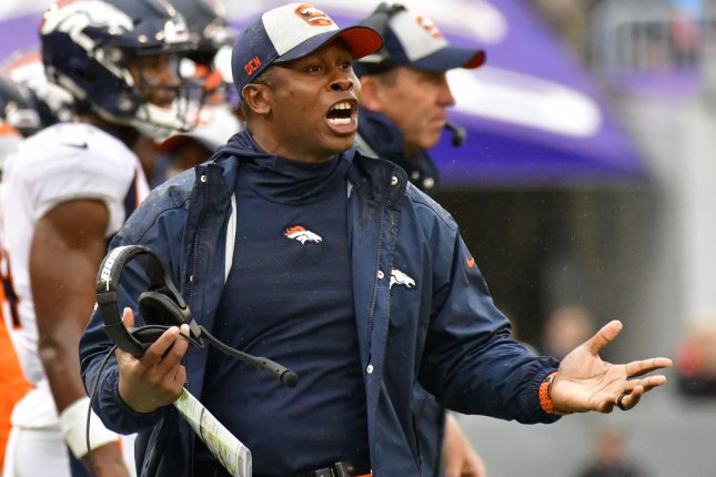 Denver Broncos head coach Vance Joseph reacts after a play during a game against the Baltimore Ravens at M&T Bank Stadium on September 23, 2018. Photo by David Tulis/UPI