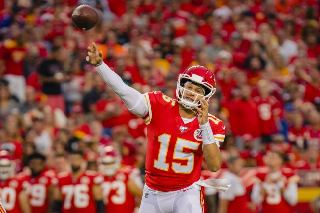 Kansas City Chiefs quarterback Patrick Mahomes completed 10 of 11 passes and threw a touchdown before leaving in the first half of a win against the Denver Broncos due to an injury Thursday in Denver. Photo by Kyle Rivas/UPI