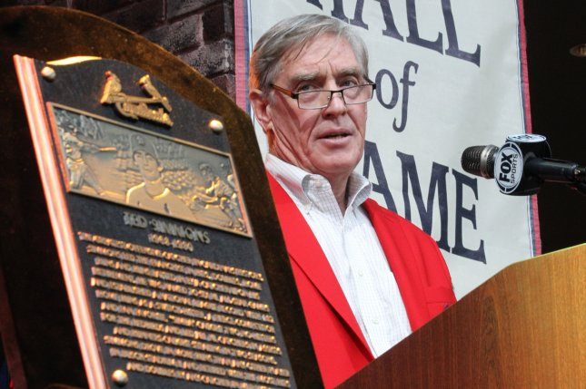 Former St. Louis Cardinals catcher Ted Simmons delivers remarks during St. Louis Cardinals Hall of Fame induction ceremonies in 2015. File Photo by Bill Greenblatt/UPI