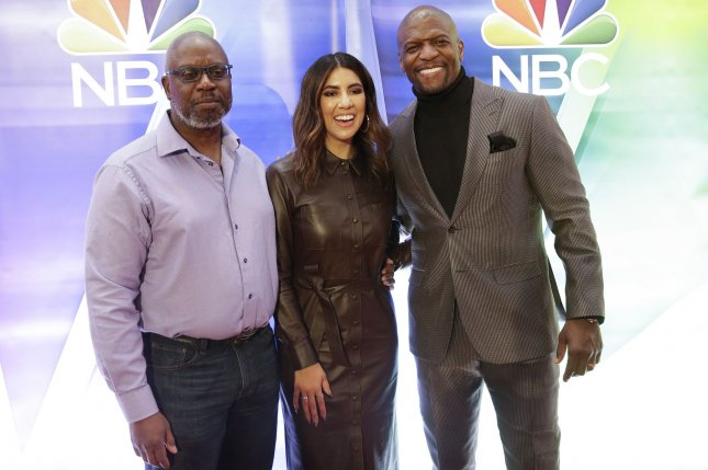 Brooklyn Nine-Nine stars, left to right, Andre Braugher, Stephanie Beatriz and Terry Crews arrive on the red carpet at the NBC Midseason New York Press Junket on January 23 in New York City. Photo by John Angelillo/UPI