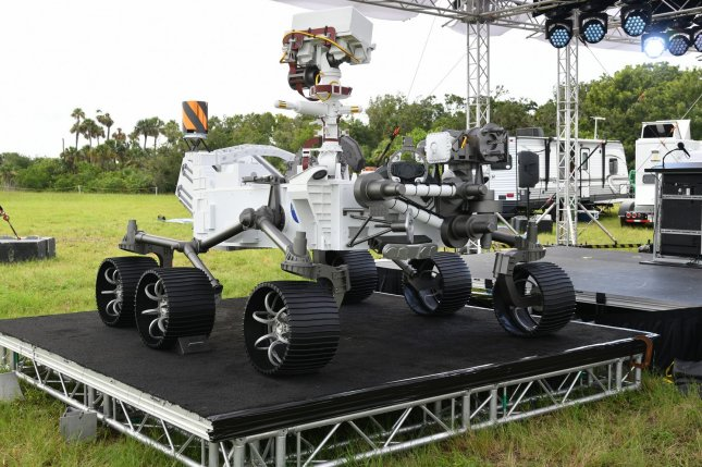 A full-scale model of NASA's Mars rover, Perseverance, which is scheduled to land February 18, is shown at Kennedy Space Center in Florida before launch day in July. File Photo by Joe Marino/UPI