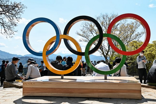The Olympic rings are seen at the top of Mt. Takao in Hachioji, Tokyo, Japan on April 18. The Summer Games are scheduled to begin on July 23 and run through August 8. Photo by Keizo Mori/UPI