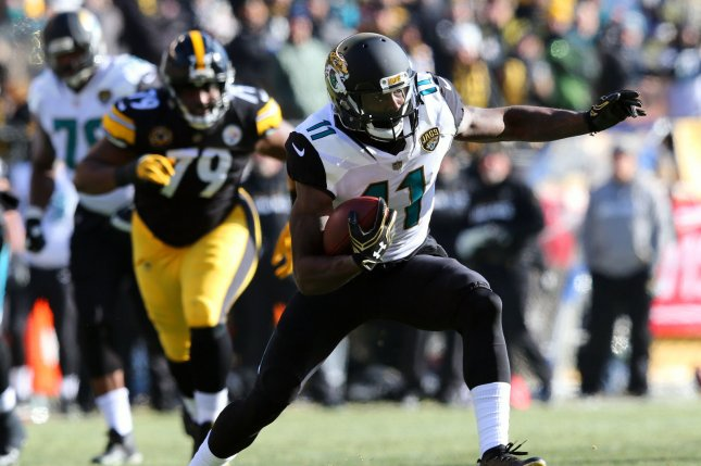 Former Jacksonville Jaguars wide receiver Marqise Lee, shown Jan. 14, 2018, signed with the San Francisco 49ers on Monday after trying out for the team last weekend. File Photo by Aaron Josefczyk/UPI