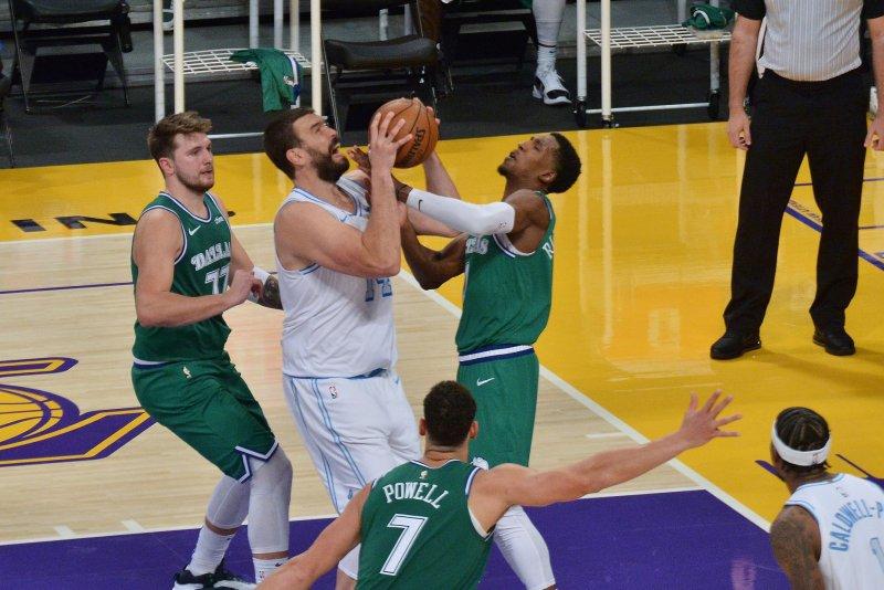 Former Dallas Mavericks swingman Josh Richardson (R), shown Dec. 25, 2020, was traded to the Boston Celtics last month. File Photo by Jim Ruymen/UPI