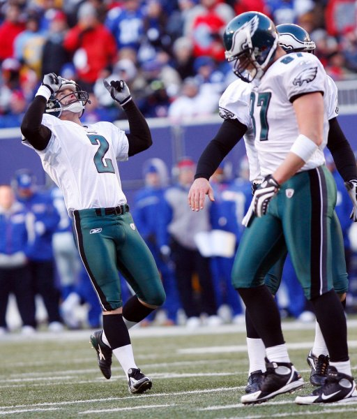 David Akers reacts after kicking a field goal against the New York Giants on Jan. 11, 2009. (UPI Photo/John Angelillo)
