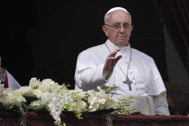 Pope Francis celebrates Easter mass, 'Urbi et Orbi' (to the city and the world) benediction, in Saint Peter's Square at the Vatican, March 31, 2013. UPI/Stefano Spaziani