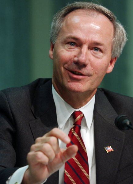Arkansa's Gov. Asa Hutchinson said he would sign the so-called religious freedom bill despite objections. File Photo by Michael Kleinfeld/UPI.