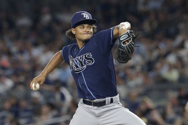 Tampa Bay Rays starting pitcher Chris Archer throws a pitch. File photo by John Angelillo/UPI
