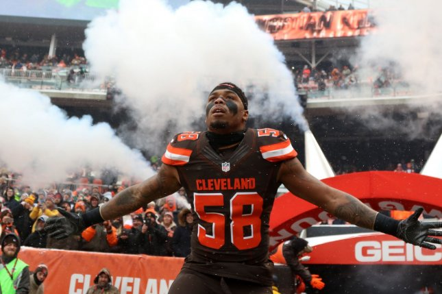 Cleveland Browns Christian Kirksey takes the field for a game in December. The team rewarded Kirksey with a four-year, $38 million contract extension. File photo by Aaron Josefczyk/UPI