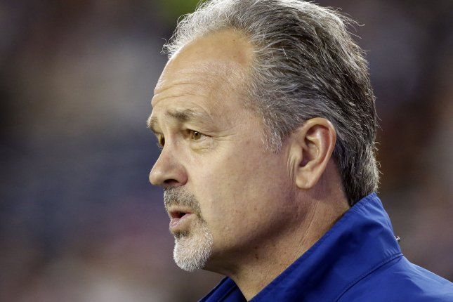 Indianapolis Colts Chuck Pagano stands on the field before the game against the New England Patriots in the AFC Championship Game at Gillette Stadium in Foxborough, Massachusetts on January 18, 2015. File photo by John Angelillo/UPI
