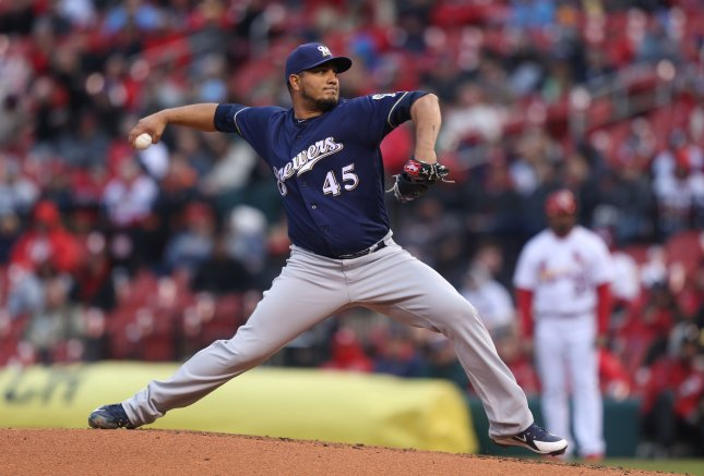Jhoulys Chacin and the Milwaukee Brewers square off with the New York Mets on Sunday. Photo by Bill Greenblatt/UPI