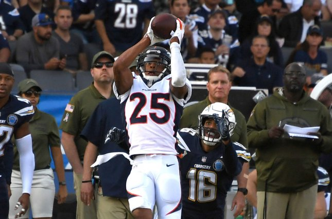 Denver Broncos cornerback Chris Harris Jr. (25) intercepts a pass in front of Los Angeles Chargers receiver Tyrell Williams (16) on November 18, 2018 at StubHub Center in Carson, California. Photo by Jon SooHoo/UPI