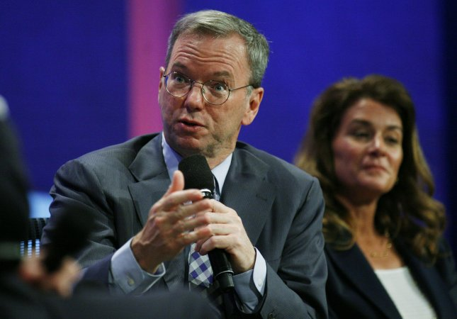 Eric Schmidt, CEO of Google, speaks as Melinda Gates of the Gates Foundation listens as they sit on a panel during the opening plenary session of the sixth annual meeting of the Clinton Global Initiative on September 21, 2010 in New York. The Initiative brings together numerous current and former heads of state who make commitments to address global issues such as poverty, environment and social conditions. UPI /Monika Graff