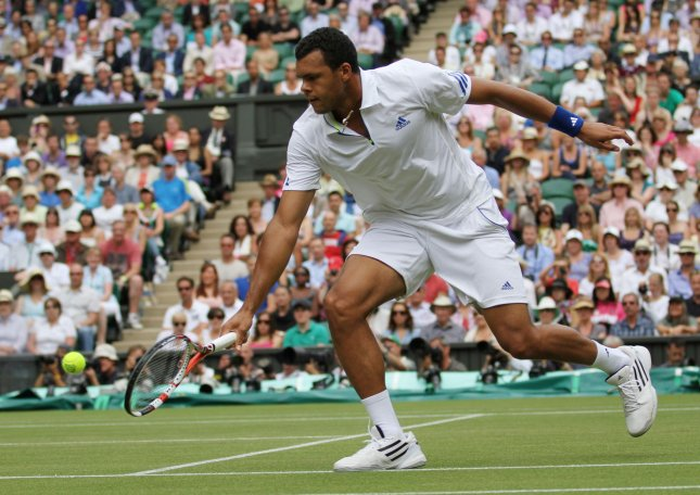 Jo-Wilfried Tsonga, shown in a file photo from this year's Wimbledon Championships, picked up a spot in the quarterfinals of the China Open with a straight-set win Thursday. UPI/Hugo Philpott