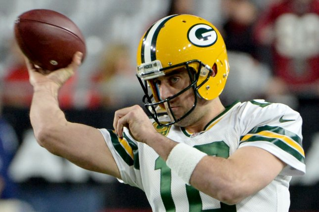 Green Bay Packers quarterback Aaron Rodgers throws a pass as he warms up for the Packers-Arizona Cardinals game at University of Phoenix Stadium in Glendale, Arizona on January 16, 2016. Photo by Art Foxall/UPI