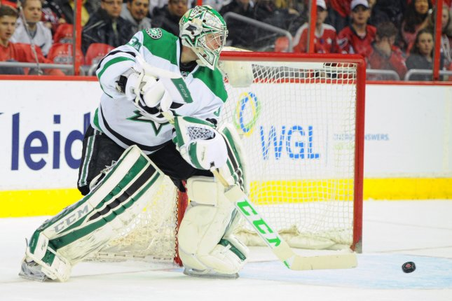 Kari Lehtonen stopped all 30 shots he faced on Monday night as the Dallas Stars posted a 1-0 win over the San Jose Sharks at American Airlines Center. File Photo by Mark Goldman/UPI