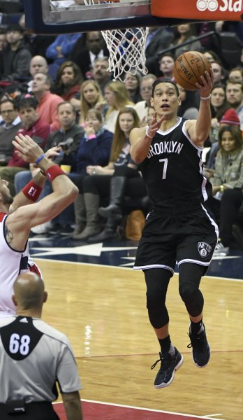 Brooklyn Nets guard Jeremy Lin goes to the basket during a game against the Washington Wizards late last season. Photo by Mark Goldman/UPI