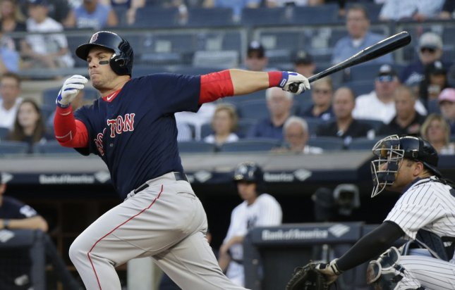 Steve Pearce and the Boston Red Sox take on the Texas Rangers on Tuesday. Photo by John Angelillo/UPI