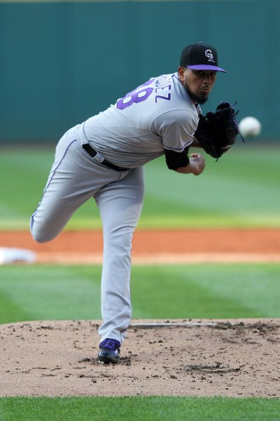 German Marquez and the Colorado Rockies face the Atlanta Braves on Sunday. Photo by Aaron Josefczyk/UPI
