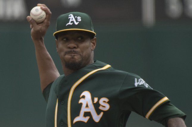 Edwin Jackson and the Oakland A's face the Tampa Bay Rays on Friday. Photo by Terry Schmitt/UPI
