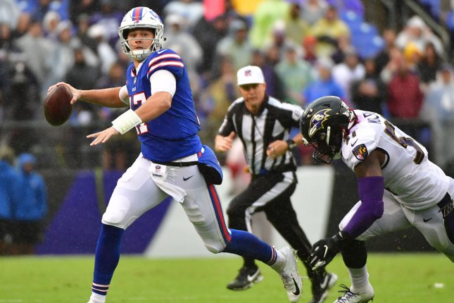 Buffalo Bills quarterback Josh Allen (17) scrambles against the Baltimore Ravens in the third quarter on September 9, 2018 at M&T Bank Stadium in Baltimore, Maryland. Photo by Kevin Dietsch/UPI