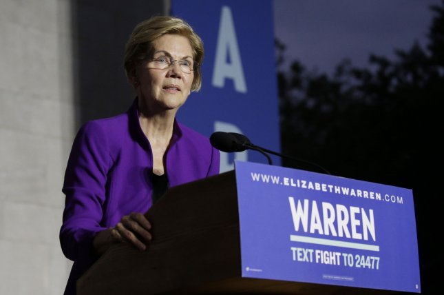 Democratic candidate for president Elizabeth Warren said the office would reduce the influence of corporate lobbyists. Photo by John Angelillo/UPI