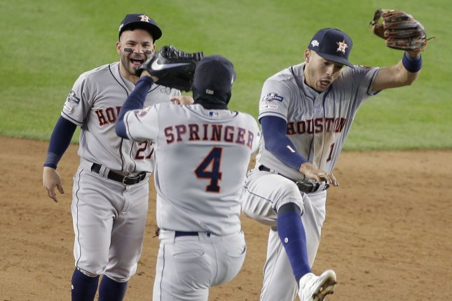 The Houston Astros and other MLB teams will not specify which players test positive for the coronavirus as part of the league's plan for a shortened 2020 season. File Photo by Ray Stubblebine/UPI