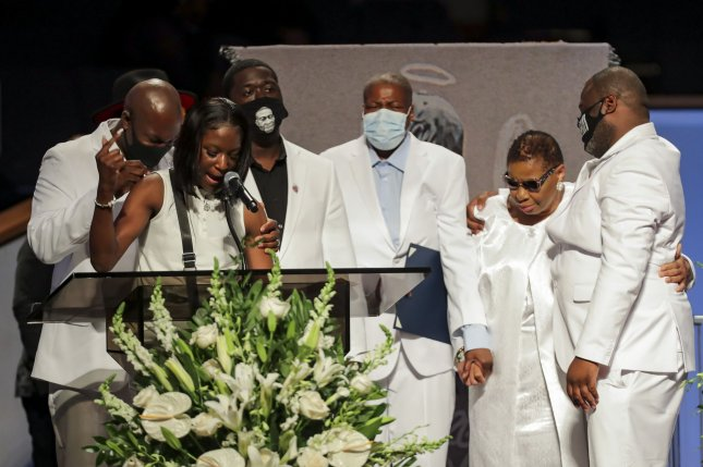 Brooke Williams, the niece of George Floyd, speaks during his funeralat The Fountain of Praise church in Houston on June 9, while standing with other members of the Floyd family. File Photo by Godofredo A. Vasquez/UPI/Pool