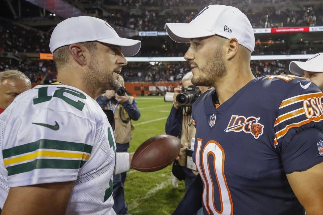 Aaron Rodgers (L) had no turnovers, while Mitchell Trubisky (R) and two interceptions and a fumble in the Green Bay Packers win over the Chicago Bears on Sunday in Green Bay, Wis. File Photo by Kamil Krzaczynski/UPI