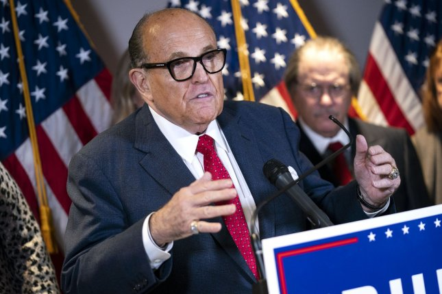 Rudy Giuliani was admitted to a Washington, D.C., hospital Sunday after being diagnosed with COVID-19. Photo by Kevin Dietsch/UPI