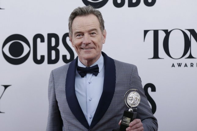 Bryan Cranston, winner of the award for Best Performance by an Actor in a Leading Role in a Play for Network, arrives in the press room at the 73rd Annual Tony Awards at Radio City Music Hall on June 9, 2019, in New York City. The actor turns 65 on March 7. File Photo by John Angelillo/UPI
