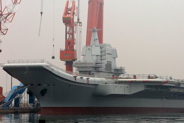 China's Type 001A aircraft carrier was seen traveling through the Miyako Strait near Okinawa. File Photo by Stephen Shaver/UPI