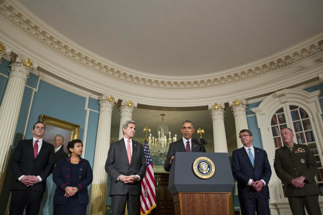 Reforms to national security need to expand beyond the Pentagon. From left to right, Special Presidential Envoy for the Global Coalition to Counter ISIL Brett McGurk, U.S. Attorney General Loretta Lynch, Secretary of State John Kerry, Secretary of Defense Ash Carter, and Chairman of the Joint Chiefs of Staff Gen. Joseph Dunford stand alongside President Barack Obama after meeting with his National Security Council at the State Department on Feb. 25. File Pool Photo by Drew Angerer/UPI