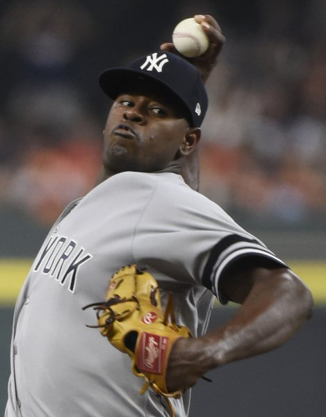 Luis Severino and the New York Yankees face the Boston Red Sox on Sunday. Pool Photo by Eric Christian Smith/UPI